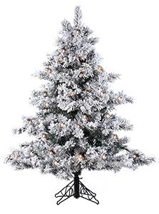 #!Cheap 4.5' Pre-Lit Flocked Alaskan Artificial Christmas Tree - Clear Lights