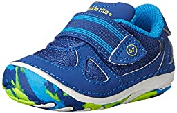 Stride Rite SRT SM Link Athletic Shoe (Infant/Toddler),Blue/Citron,3 M US Infant