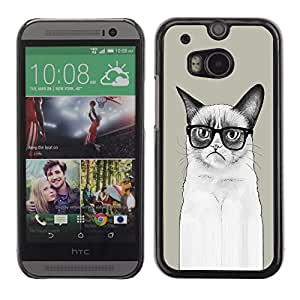 Omega Covers - Snap on Hard Back Case Cover Shell FOR HTC ONE ( M8 ) - Funny LOL Long Angry Cat