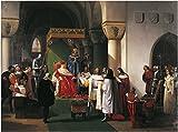 WallsnArt, Figurative Modern Framed Art Work Canvas Gallery Wrap,Filippo Maria Visconti, Duke Of Milan Returns Crown To Kings Of Aragona And Of Navarra, Taken Prisoner By Genoese, By Francesco Hayez (1791-1882)