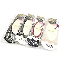 レディース 抗菌防臭 パンプスイン ソックス 猫柄 4色 4足セット