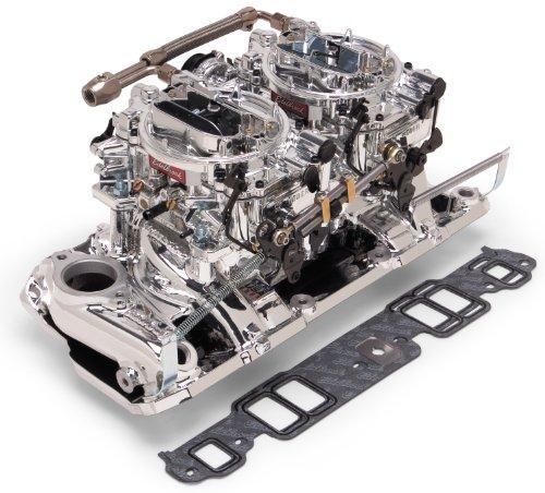 Edelbrock 20254 Performer Rpm Dual-Quad Air-Gap Manifold And Carburetor Kit