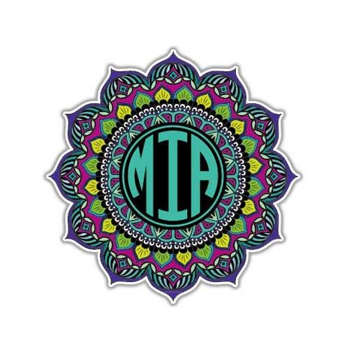 MeganJDesigns Customizable Earthy Mandala Monogram Sticker Custom Colorful Car Decal Vinyl Bumper Sticker Initials Symbol Yoga Car Decal Yantra Cosmos Universe (Colorful Initial Car Decals compare prices)
