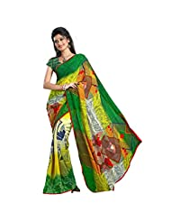 101cart Striking Multi Colored Geometrical Printed Faux Georgette Saree