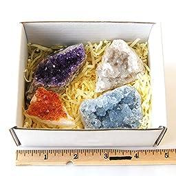 Moontree Amethyst Citrine Celestine Crystal Geodes with Stones Information, Druzy Geode Cluster Specimen Point Rock,holiday Gift Gems Gift Gemstone Gift