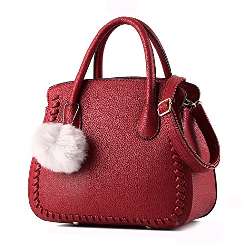 Ryse Womens Fashionable Cute Fur Ball Ornaments Woven Exquisite Handbag Shoulder Bag(WineRed)