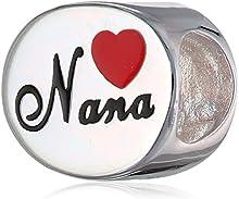 Queenberry broche de plata de ley Love Nana gran abuela Corazón rojo con cuentas de esmalte familia para Pandora pulseras de seguridad europeo para pulsera Biagi Chamilia Troll
