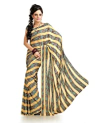 Designersareez Women Chiffon Jacquard Printed Multicolor Saree With Unstitched Blouse(969)