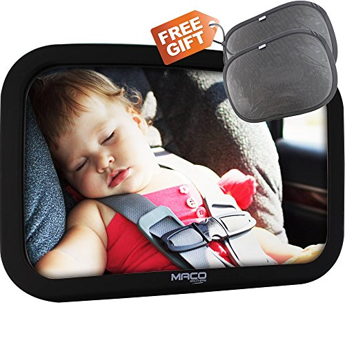MacoBrothers Backseat baby car mirror -Infant rear facing back seat mirror-large crystal clear,360 Degree adjustment flexibility and highly reflective shatterproof acrylic convex mirror (Car Mirror Baby Light compare prices)