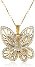 Yellow Gold-Plated and Diamond-Accented Butterfly Pendant Necklace, 18""