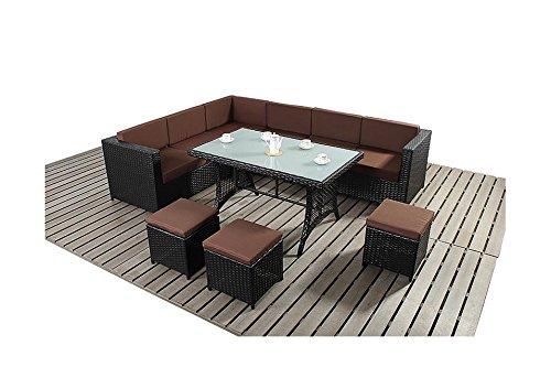 Schoko Avignon Gartenmöbel Schwarz Couch Sofa Tisch-Set