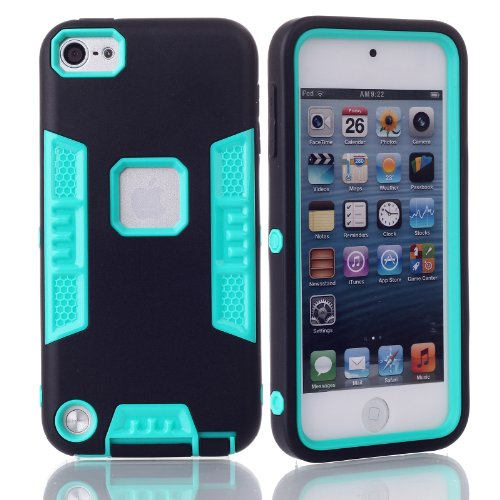 iTouch 5,Touch 6 Case,SAVYOU 3in1 Heavy Duty High Impact Armor Case Cover Protective Cover Case for Apple iPod touch 5 6th Generation (Black Green) (Ipod Cases 5 3in1 compare prices)