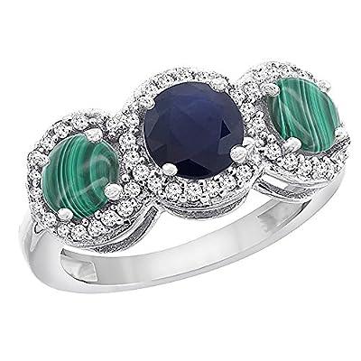 10K White Gold Natural High Quality Blue Sapphire & Malachite Sides Round 3-stone Ring Diamond Accents, sizes 5 - 10