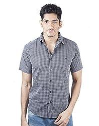 Mavango City Look Black Checkered Regular Fit Men's Casual Cotton Shirt
