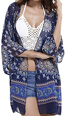 Angerella Women's Sexy See-Through Chiffon Beachwear Cover-ups Kimono Cardigan