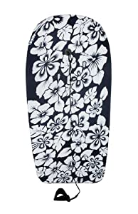 Black and White Hibiscus Flower Body Board 37 In. by Things2Die4