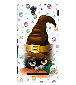 Printvisa Animated Black Cat With Santa'S Hat Back Case Cover for Sony Xperia C3 Dual D2502::Sony Xperia C3 D2533