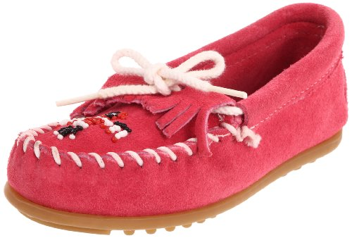 Minnetonka Beaded Kilty Moccasin (Toddler/Little Kid/Big Kid),Pink,11 M US Little Kid