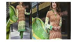 Elegant Attyres Women's Cotton Unstitched Dress Material (Elegant Attyres_7_Beige_Free Size)