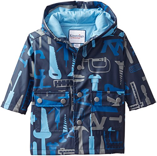 Kitestrings Baby Boys' Tool Print Hooded and Lined Rain Coat, Navy, 12 Months