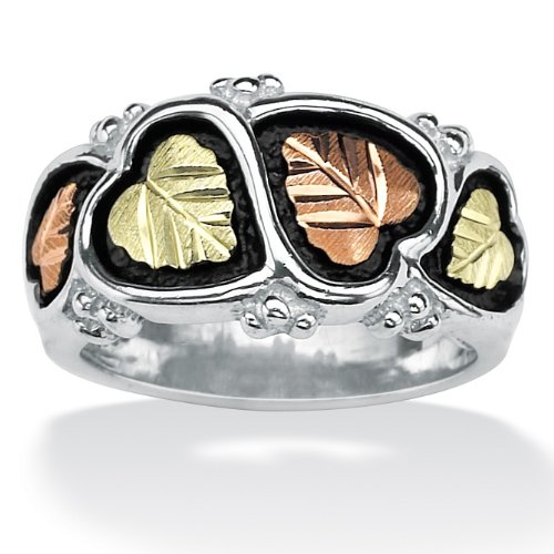 Lux Sterling Silver and Black Hills Gold Leaf Ring Size 6