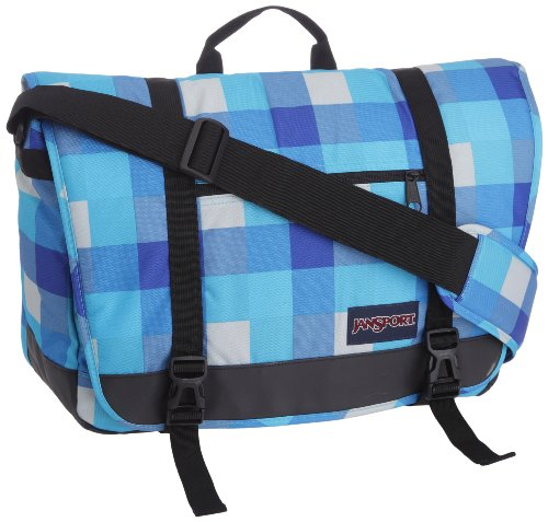 JanSport, Borsa a tracolla Throttle, 22 Liter, Turchese (mammoth blue block check), 22 Litri