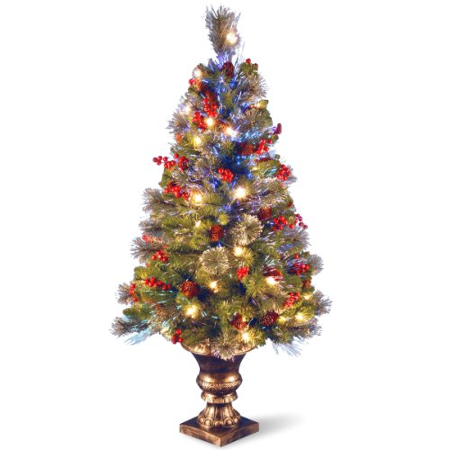 National Tree Szcw7-105-40 Fiber Optic Crestwood Spruce Tree With Cones/Glitter/Red Berries In Gold Pot, 4-Feet
