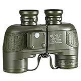 QUNSE® 軍用航海コンパス望遠鏡ーコンパス距離測定 - 10x50 大きな対物レンズ大視野 - BAK4プリズムシステムー防水防霧- 双肩式スリングを配置し