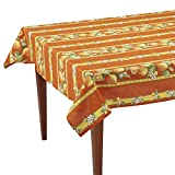 "Citrons Orange Striped Rectangular French Tablecloth, 61"" x 118"" (8-10 people), Uncoated Cotton"
