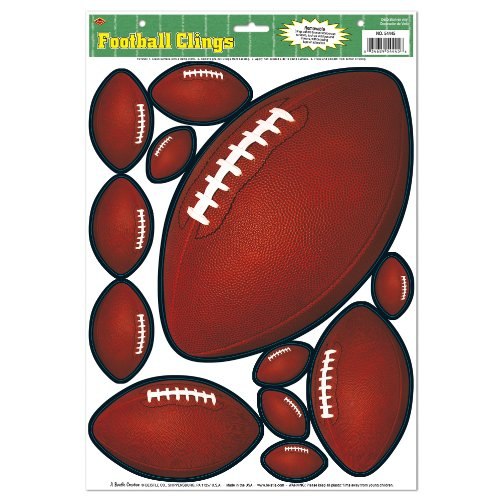 Beistle 54445 12-Clings Per Sheet Football Clings for Parties, 12 by 17-Inch
