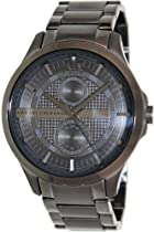 Armani Exchange Black Dial Gray PVD Mens Watch AX2119
