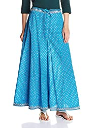 Amare Womens Flaired Printed Palazzo (KGP106_Blue_Free Size)