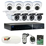 GW Security 1080P HD Over Analog 8 Channel Video Security System - Eight 2.1 MP Weatherproof IP66 Bullet & Dome Cameras, 80ft IR LED Night Vision, Pre-Installed 2TB HD, Quick QR Code Access (Color: 2.1MP 1080P HD, Tamaño: 8 Camera System)
