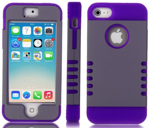 Mylife Violet Purple And Gray - Titan Shield Series (Neo Hypergrip Flex Gel) 3 Piece Case For Iphone 5/5S (5G) 5Th Generation Smartphone By Apple (External 2 Piece Fitted On Hard Rubberized Plates + Internal Soft Silicone Easy Grip Bumper Gel)