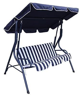 Rite Season KHS0022U Hollywoodschaukel Swing, Rahmenkonstruktion Stahl, Bezug Polyester, 3-Sitzer, UV80, blau / weiß von Rite Season bei Gartenmöbel von Du und Dein Garten
