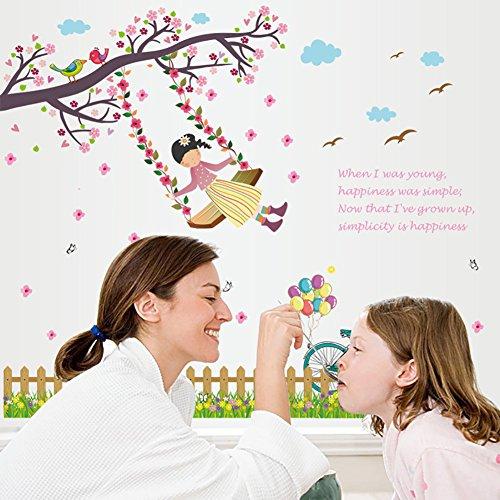 wallpark-rose-fleurs-arbre-balancoire-fille-clotures-plinthe-amovible-stickers-muraux-autocollants-s