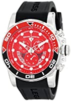 Avalanche Chronograph Black Silicone Red Dial Silver-Tone Steel Case from Swiss Legend