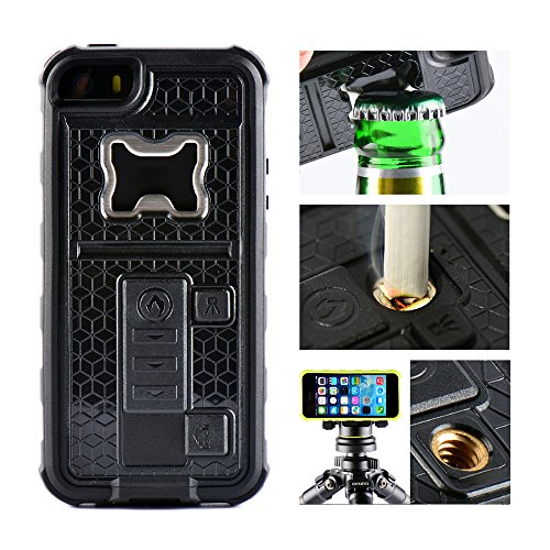 AnyShock Multi-tool Cigarette Lighter / Beer Bottle Opener/ Camera Stable Tripod Shockproof Defender Case Cover for iPhone SE/5S (Black)