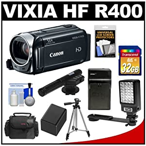 Canon Vixia HF R400 Flash Memory 1080p HD Digital Video Camcorder with 32GB Card + Battery & Charger + Case + LED Video Light + Microphone + Tripod + Accessory Kit