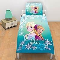 La Reine des Neiges de Disney 2070030 Parure Coton Bleu/Blanc 140 x 200 + taie d oreiller 63 CM x 63 CM