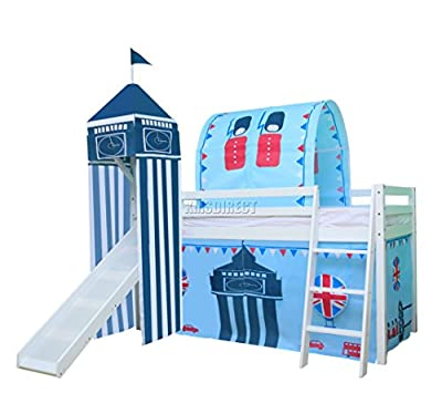 FoxHunter Childrens Wooden Mid Sleeper Cabin Bunk Bed Kids Tent Slide Tower Tunnel Single 3FT Castle No Mattress New
