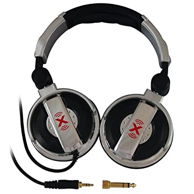 Axess HP611-SL Professional DJ headphones with rotating ear cups, with 3.5mm to 6.3mm adapter jack, with carrying bag (Silver)