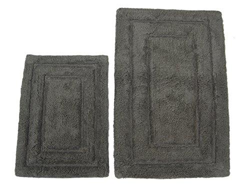 Iae 2 piece spa border bath rug set charcoal home garden for Charcoal bathroom accessories