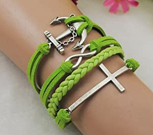 Infinity Cross Anchor Antique Silver Korea Velvet PU Leather Cute Bracelet B290
