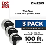 Brother Genuine DK-2205 3-Pack Black Print on White Continuous Length Paper Tape, 2.4
