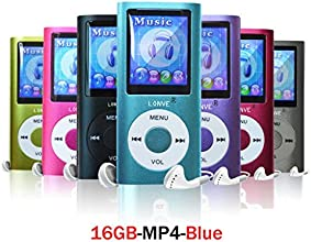 Lonve Blue 16GB MP4/MP3 Player Music 1.81'' Screen MP4 Music/Audio/Media Player with FM Radio