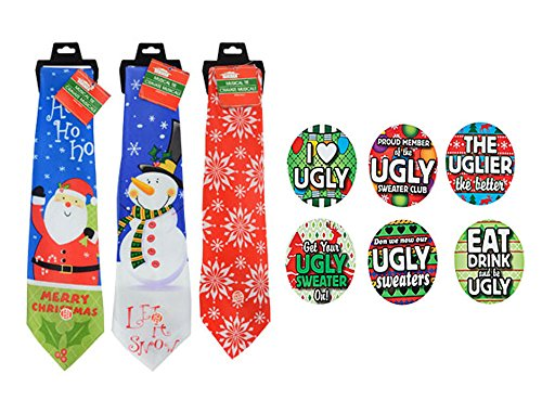 Novelty Ugly Christmas Sweater Musical Tie