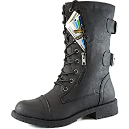 Women\'s Military Up Buckle Combat Boots Mid Knee High Exclusive Credit Card Pocket, Black, 7