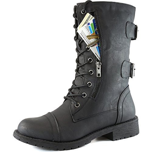 DailyShoes-Womens-Military-Combat-Lace-up-Mid-Calf-High-Credit-Card-Knife-Money-Wallet-Pocket-Boots