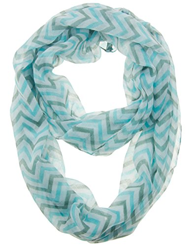 Cotton Cantina Soft Chevron Sheer Infinity Scarf in Contrasting Colors (Aqua/Gray/White)